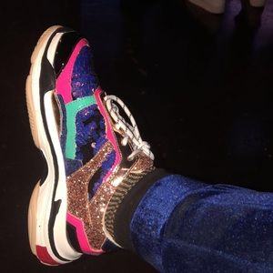 Shoes - Multi sequin sneakers women 7.5